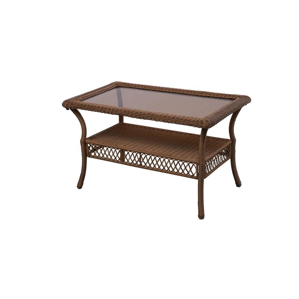 hampton bay spring haven brown all-weather wicker outdoor patio coffee table DRDYNYC