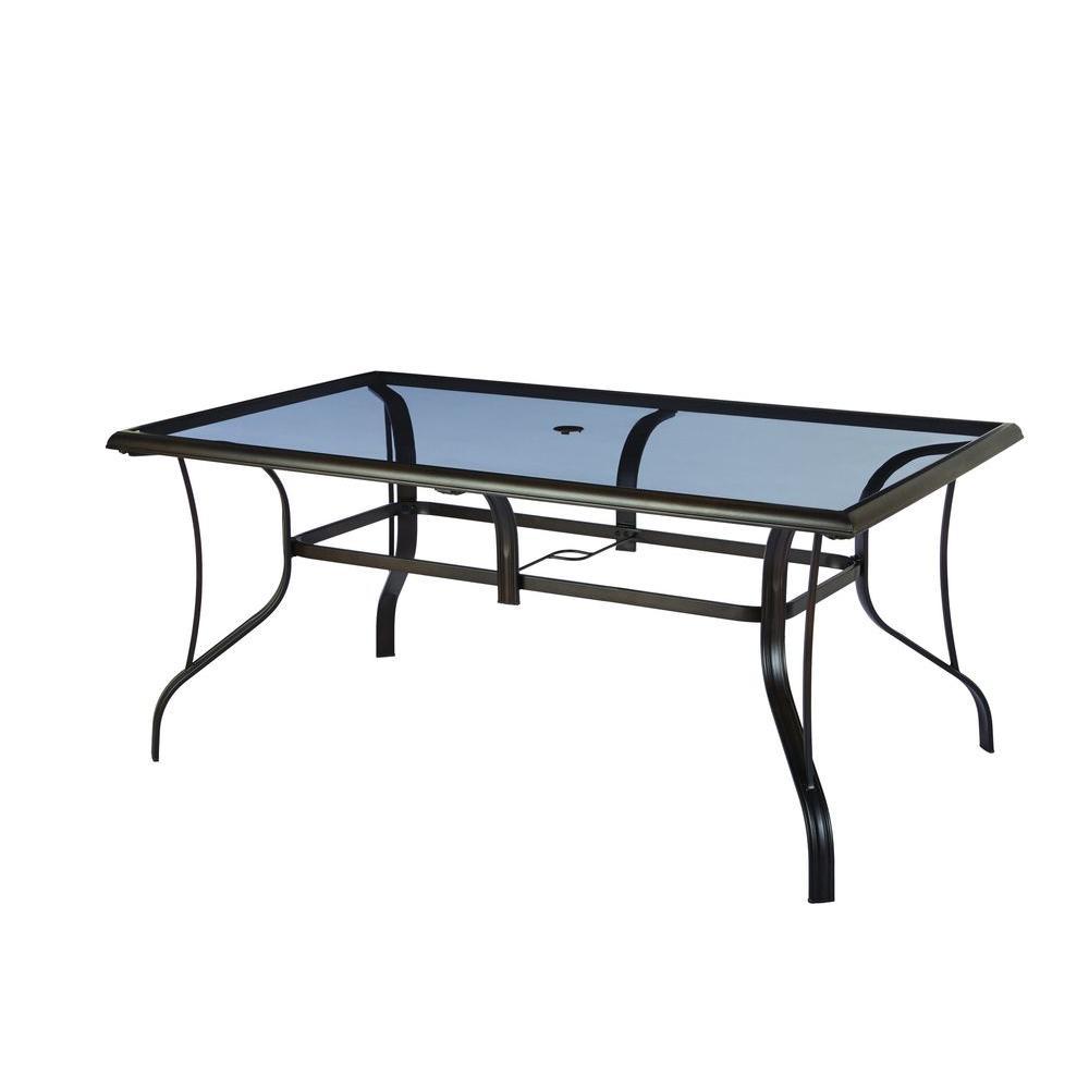 hampton bay statesville rectangular glass patio dining table OTESVID