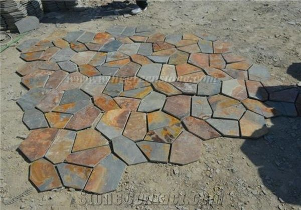 hot sale high quality rusty slate irregular shape flagstone pavers/random  flagstone/meshed YRWRUGP
