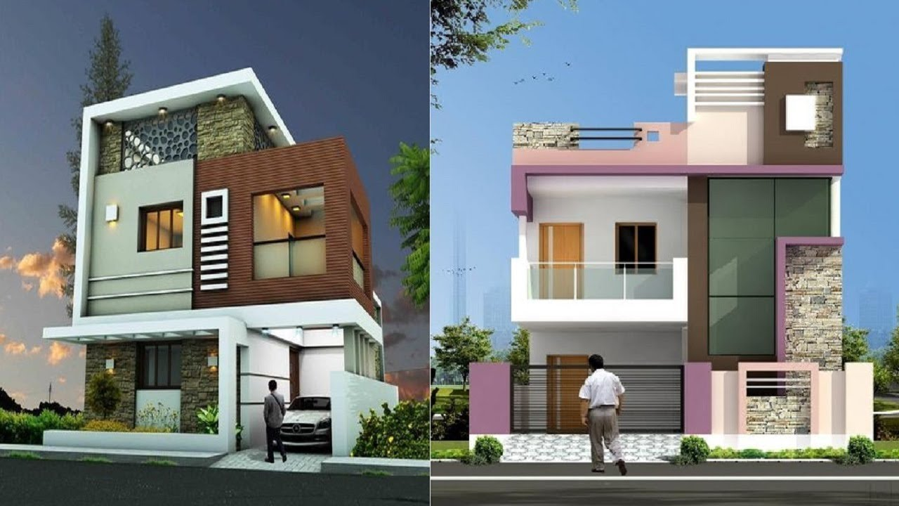 house front elevation designs for double floor single floor house front LRKEIKS