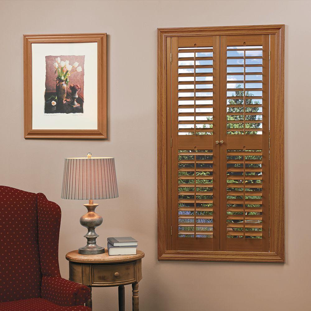 interior shutters home basics plantation faux wood oak interior shutter (price varies by FEZTHOX