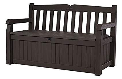 keter eden 70 gallon all weather outdoor patio storage garden bench deck FOCEKLZ