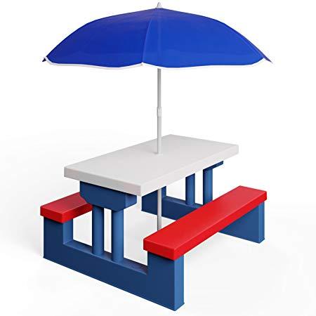 kids garden furniture deuba kids garden table u0026 bench picnic set with parasol - outdoor MDQMBYC