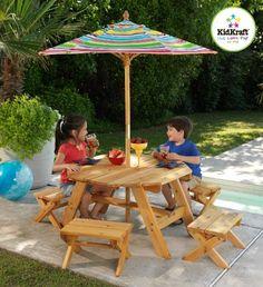 kids garden furniture kidkraft octagon patio table and stools with striped umbrella - kids picnic WWYBJPG