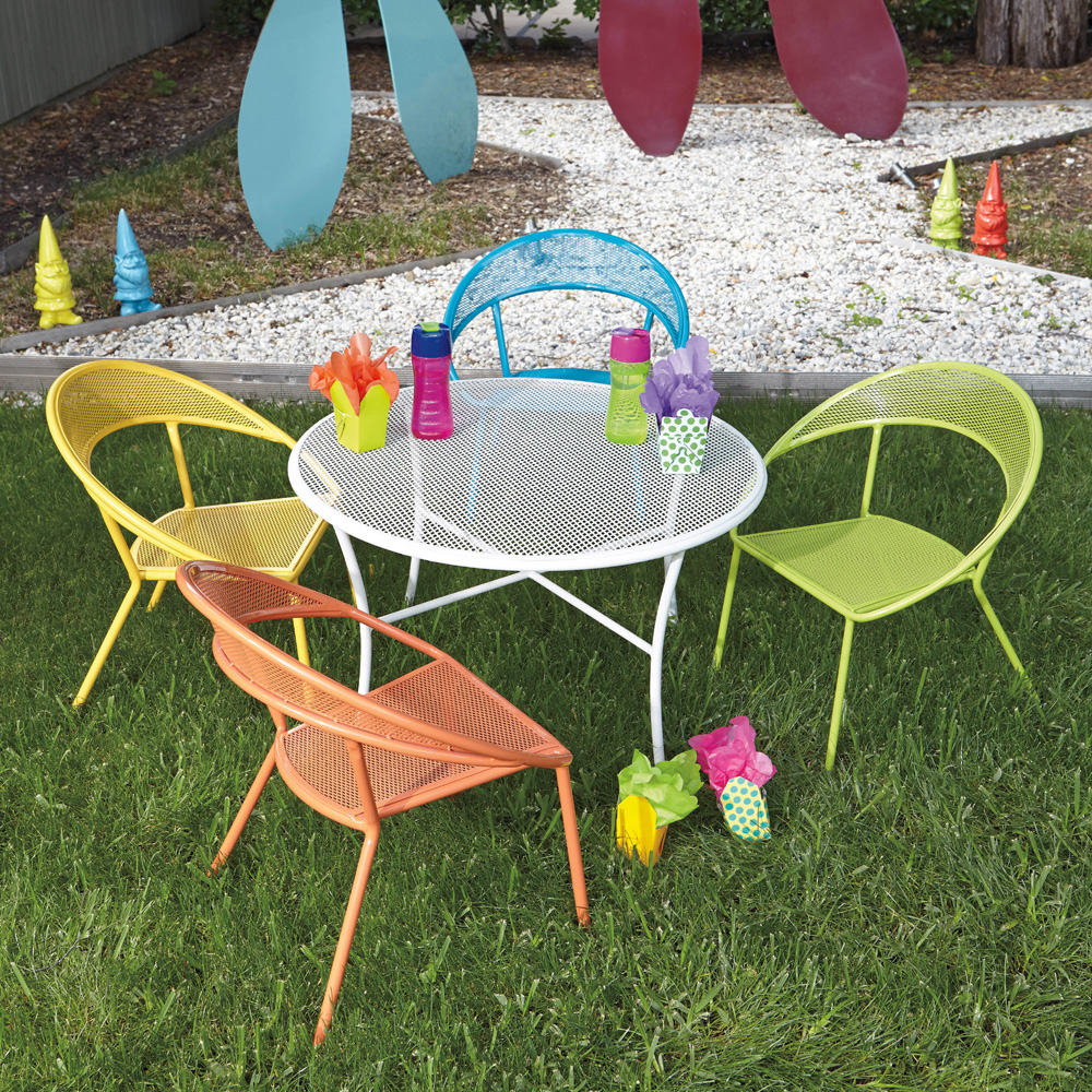 kids garden furniture woodard spright kids wrought iron patio furniture set with four chairs | YQNMVLC