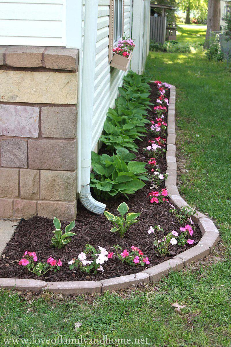 landscape edging ideas 1. simple flower bed with brick border XEWYCIT