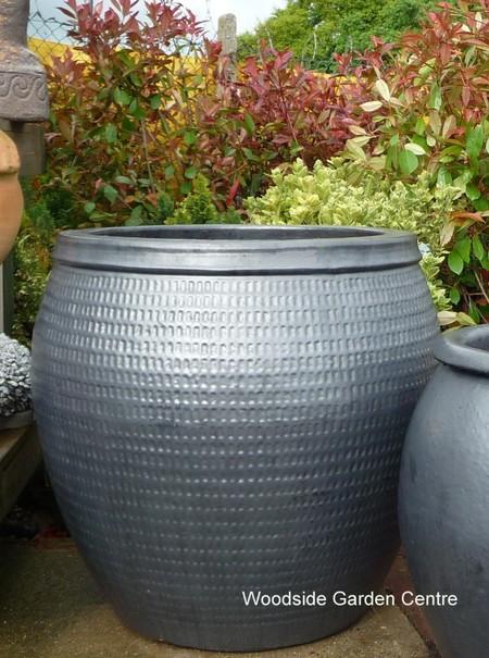 large garden pots extra glazed pot gun metal collar planter woodside QXPUYWB