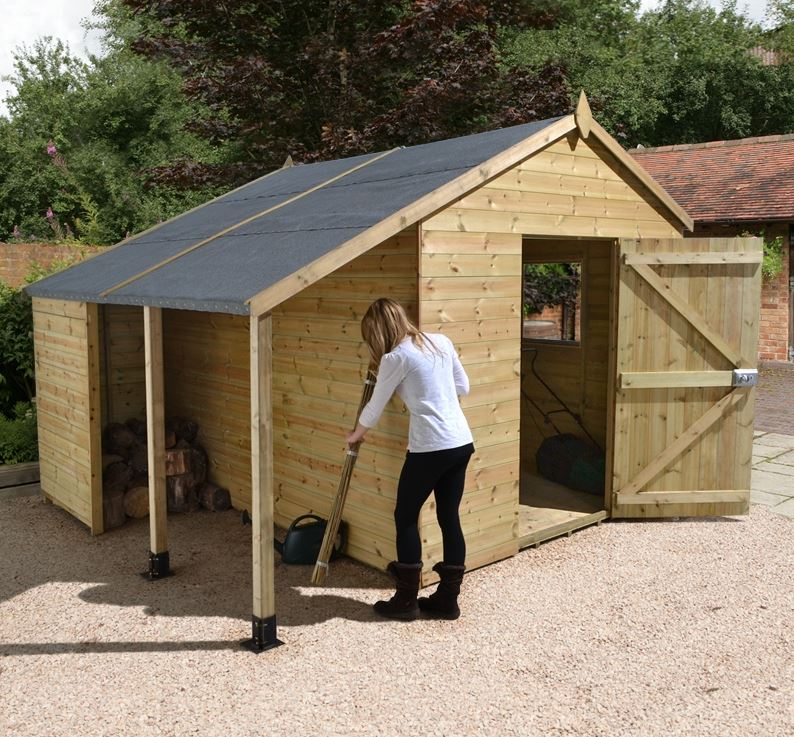large garden sheds 16 x 10 ultimate heavy duty large shed with log store QVTFOIN