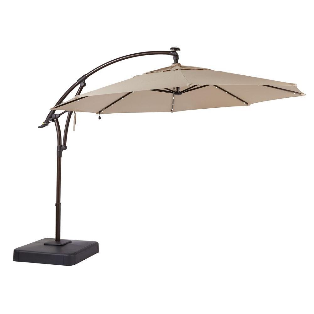 led offset patio umbrella in sunbrella sand XPZJCFL