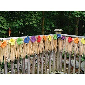 luau deck party fringe - decorate your garden decking area, 24 foot BYQAFUJ