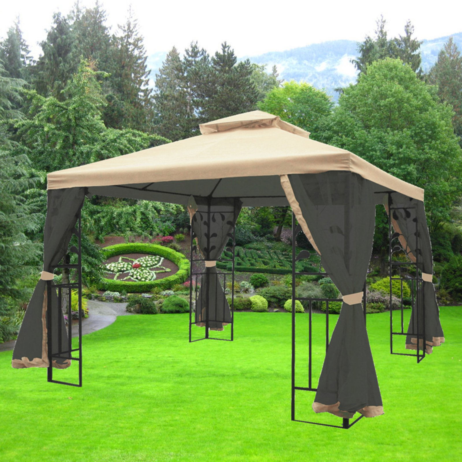 maos 10 ft. w x 10 ft. d steel gazebo with mosquito LVYEOXW