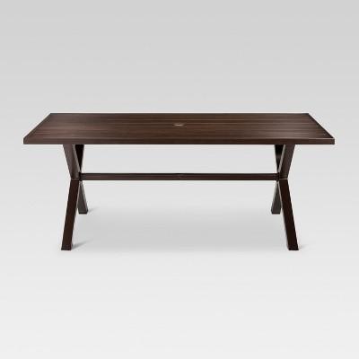 mayhew aluminum top x-base rectangle patio dining table - brown - threshold™ TWFFHJI
