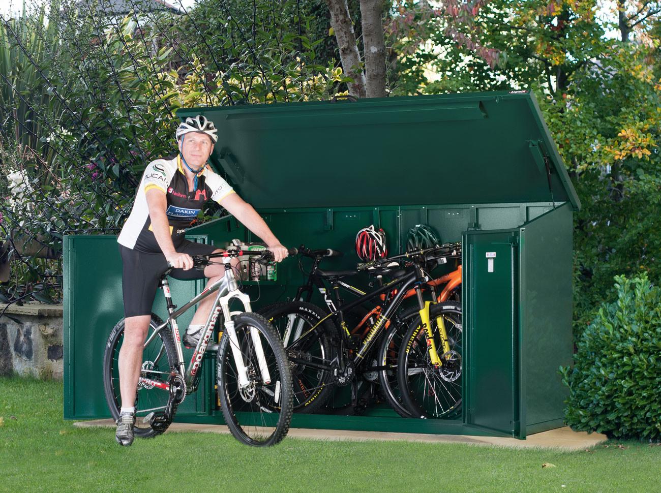 metal bike storage shed for 4 mountain or road bikes ZOHJPZJ