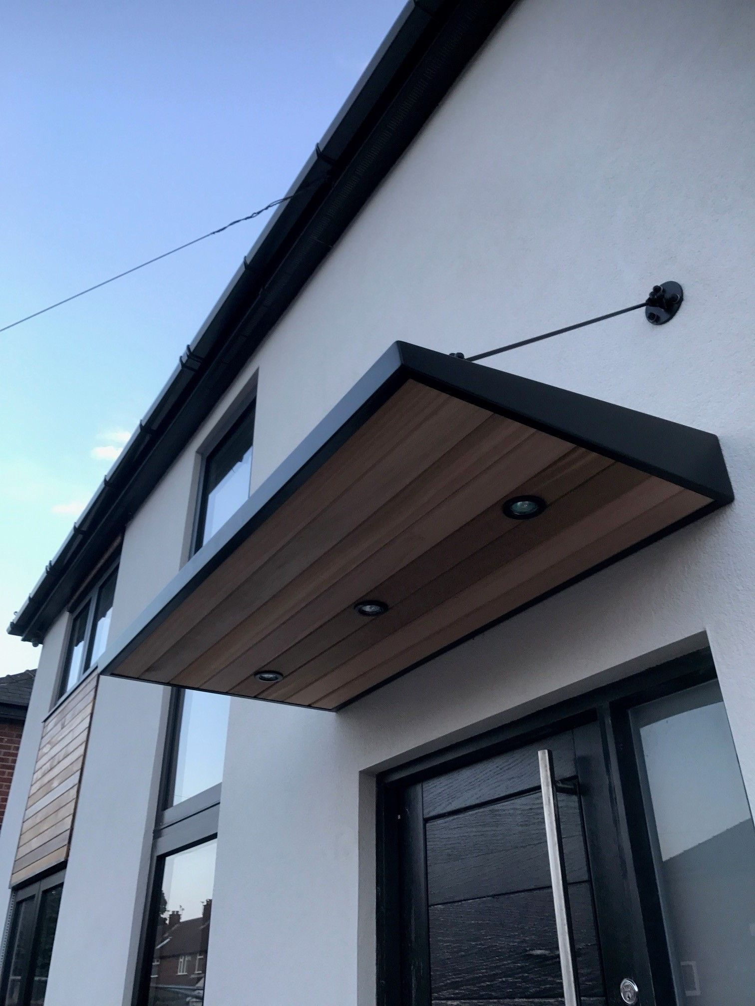metal door canopy with cladding and entrance light NNOMTFF