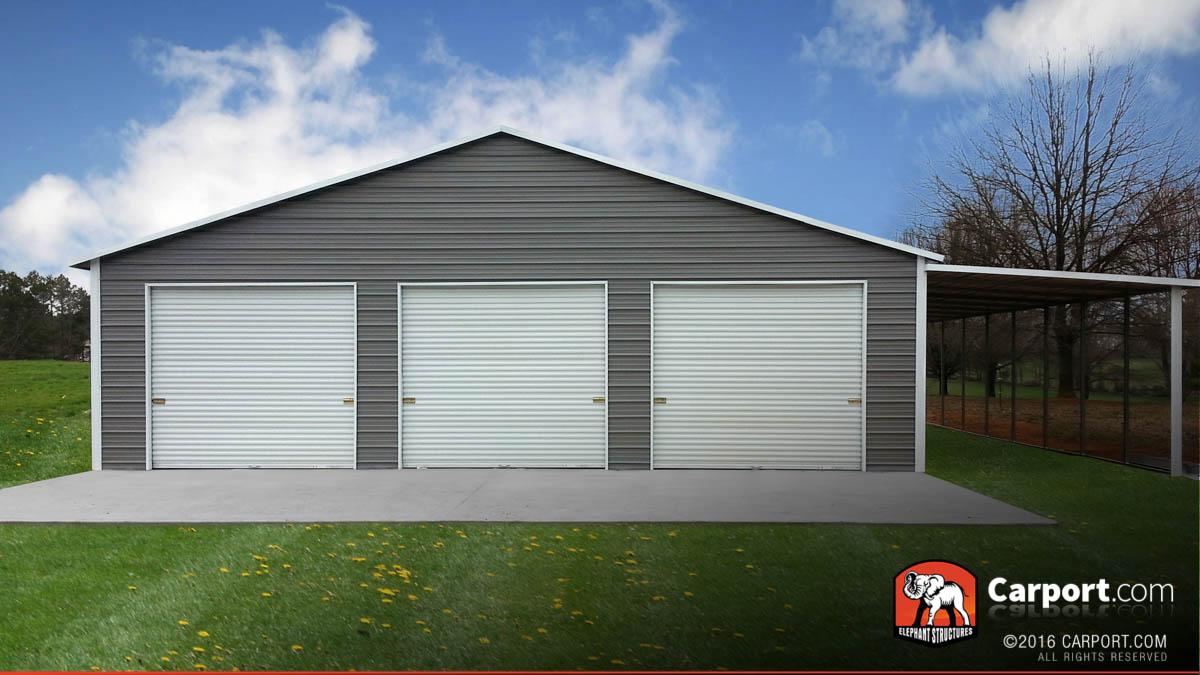 metal garage 42x31 custom three car garage with white roof and grey walls CNLCRTA