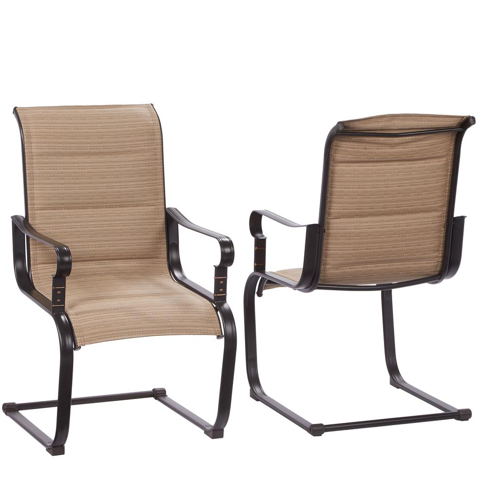 metal outdoor chairs belleville rocking padded sling outdoor dining chairs ... RYDMLYE
