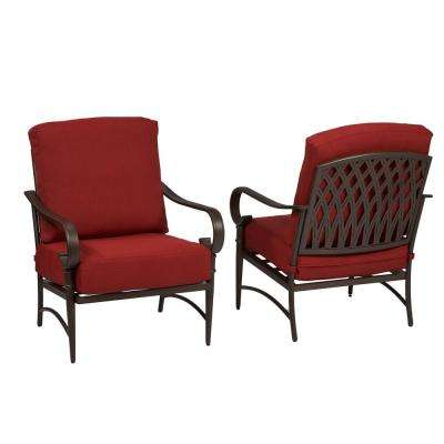 metal outdoor chairs oak cliff stationary metal outdoor lounge chair with chili cushion (2-pack) OUYHVNA