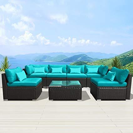 modenzi 7g-u outdoor sectional patio furniture espresso brown wicker sofa  set OOXYINM