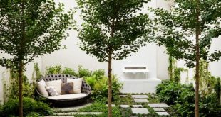 modern landscape design contemporary new york garden with stone pavers and a fountain IFSDYMP