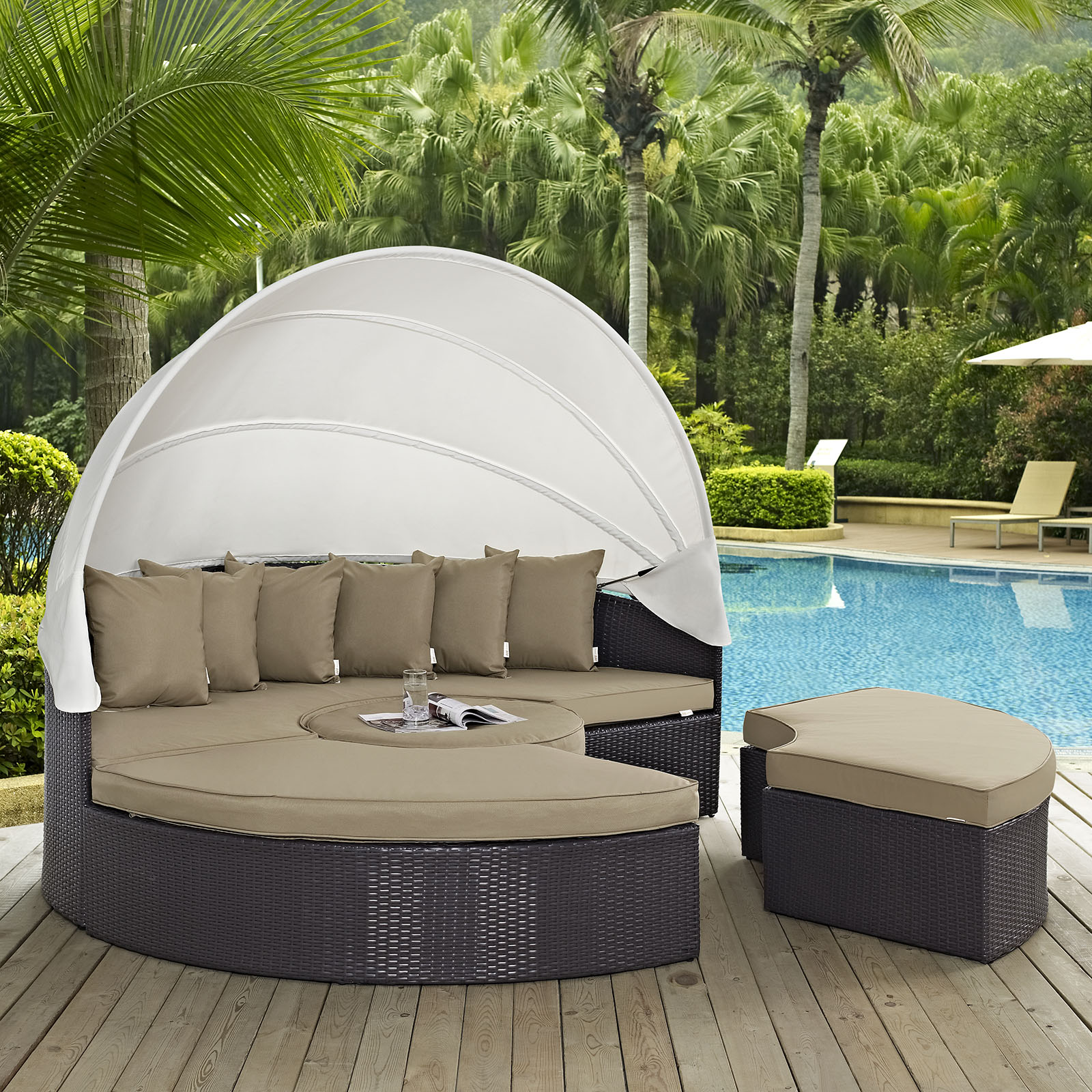 modway convene 5 piece canopy outdoor patio daybed, multiple colors CHRDOGK
