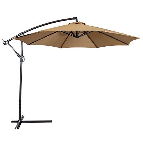 offset patio umbrella amazon.com : best choice products patio umbrella offset 10u0027 hanging umbrella ONQKGNB