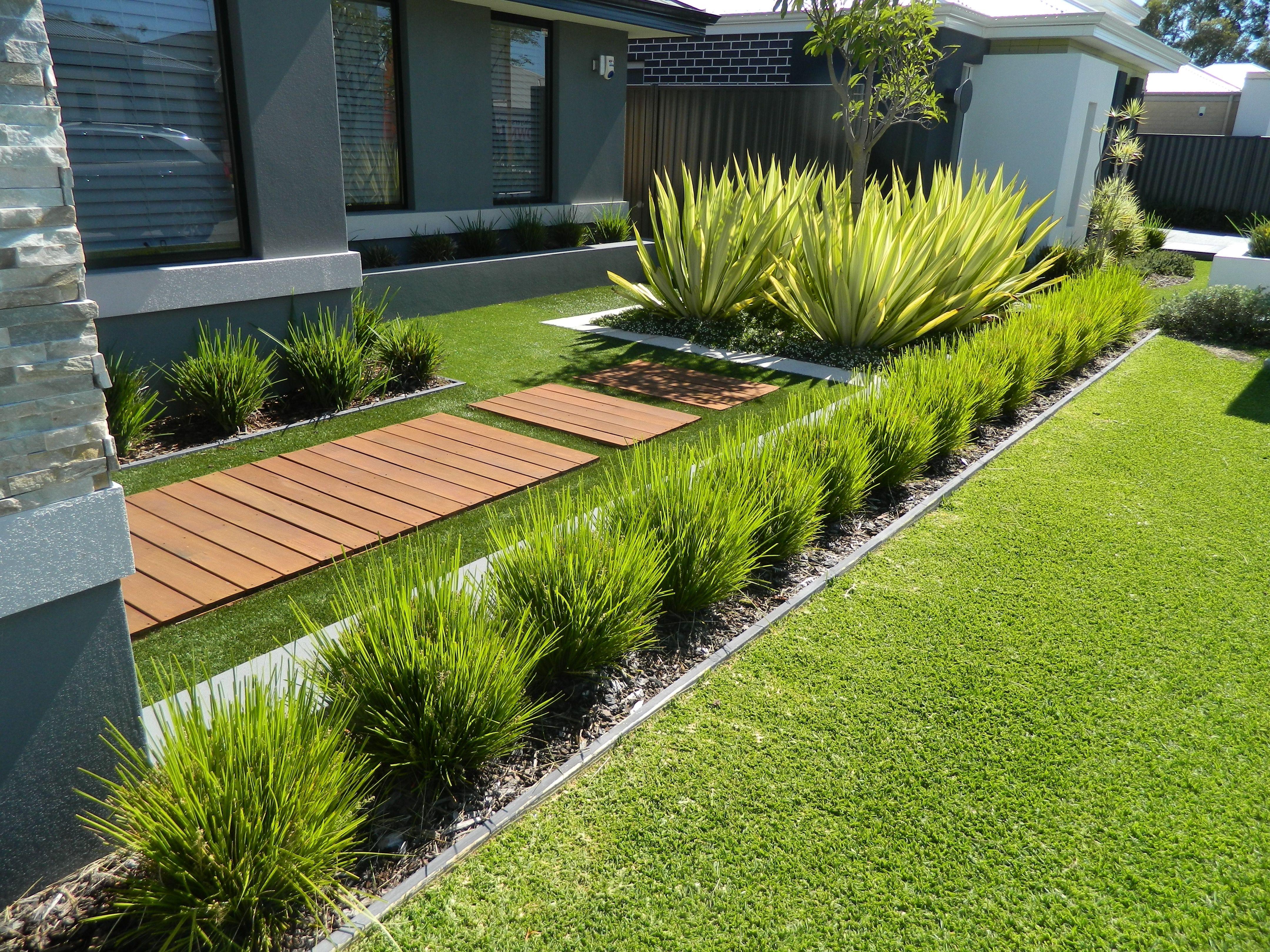 one of our front yard design modern contemporary fake grass  #artificialgrassperth USUZPTX