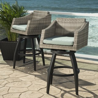 outdoor bar stools cannes set of 2 swivel barstools in bliss blue HWHSJTM