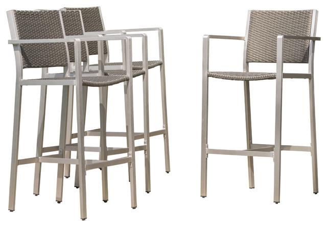 outdoor bar stools capral outdoor gray wicker bar stools, set of 4 RZNVBVN