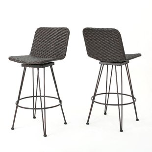 outdoor bar stools prevost outdoor wicker patio bar stool (set of 2) KIVFOPR