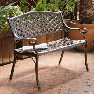 outdoor benches cozumel copper cast aluminum bench by christopher knight home URGNHVM