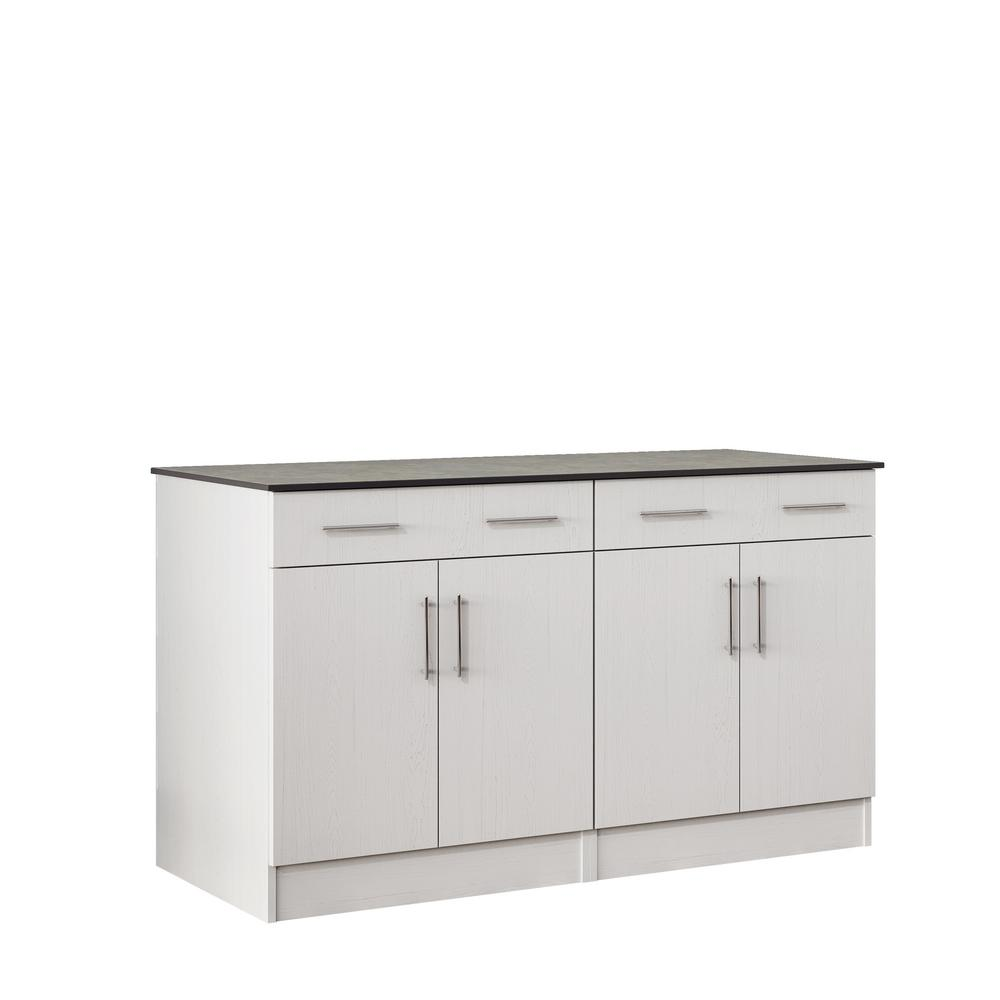 outdoor cabinets with countertop 4 door and 2 drawer in white SUMYMNW
