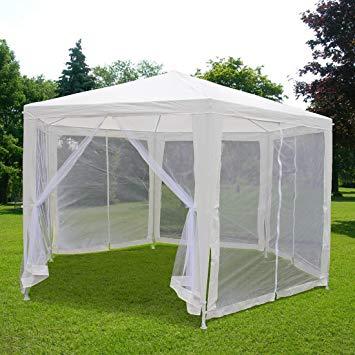 outdoor canopy tent amazon.com: quictent 6.6u0027x6.6u0027x6.6u0027 outdoor hexagonal canopy party wedding  tent w/nettings: garden LEQSLJO