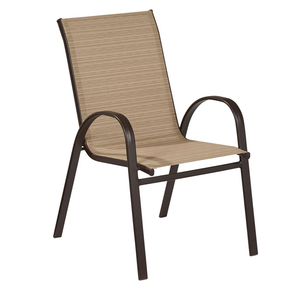 outdoor dining chairs hampton bay mix and match stackable sling outdoor dining chair in cafe EGXVQMD