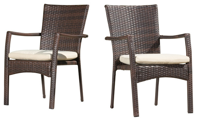 outdoor dining chairs melba outdoor brown wicker dining chairs with beige cushions, set of 2 AKNEYDP