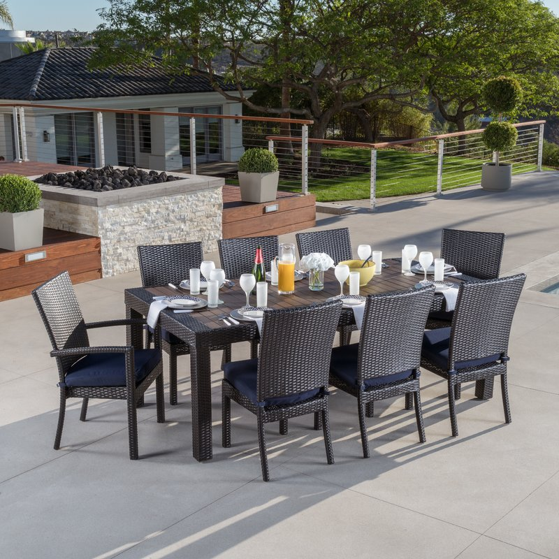 outdoor dining sets evansville 9 piece outdoor dining set with cushion RZUKJDP