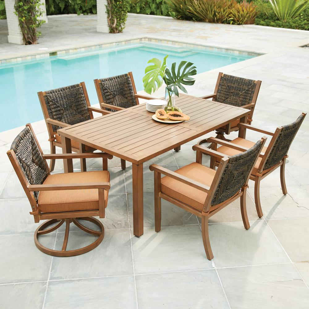 outdoor dining sets hampton bay kapolei 7-piece wicker outdoor dining set with reddish brown REMTHGB