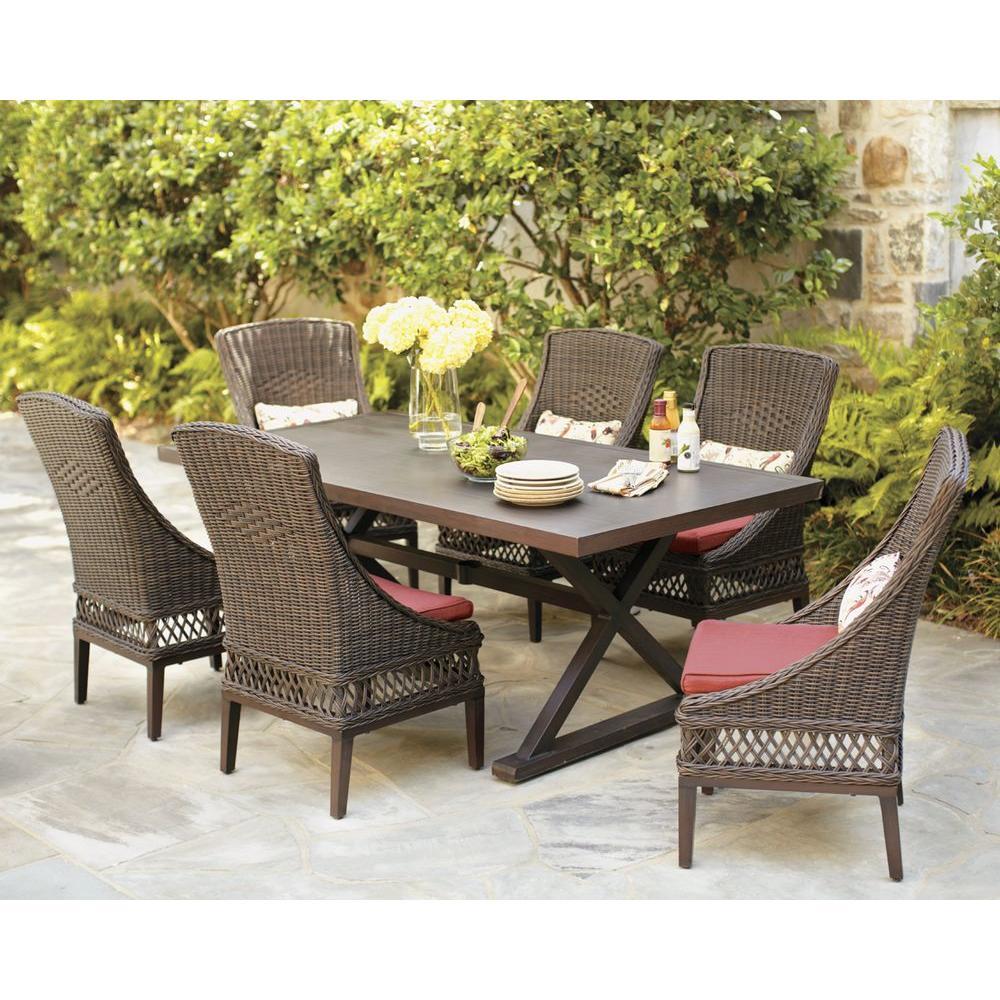 outdoor dining sets hampton bay woodbury 7-piece wicker outdoor patio dining set with chili TYFXNPA