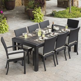 outdoor dining sets rst brands deco 9-piece brown wood frame wicker patio dining set with PDUVPDH