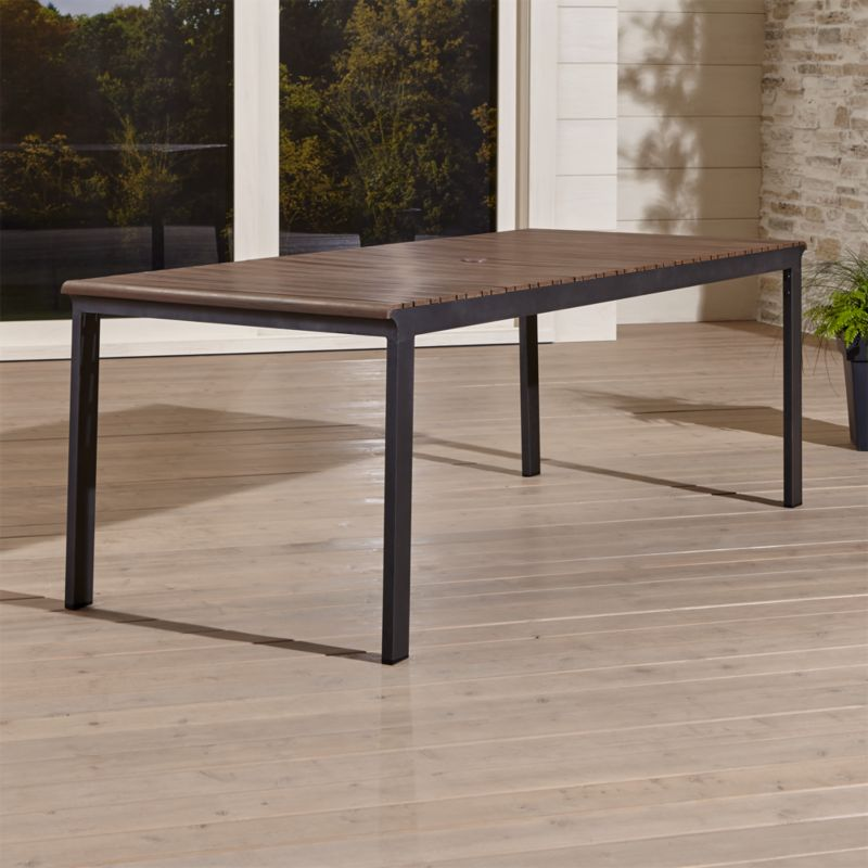 outdoor dining table rocha ii rectangular dining table + reviews | crate and barrel VHFOLIW