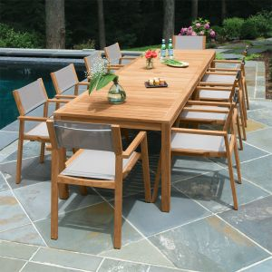 outdoor dining table summit 10ft infinity dining table, shown with summit stacking armchairs in OGNRBWP