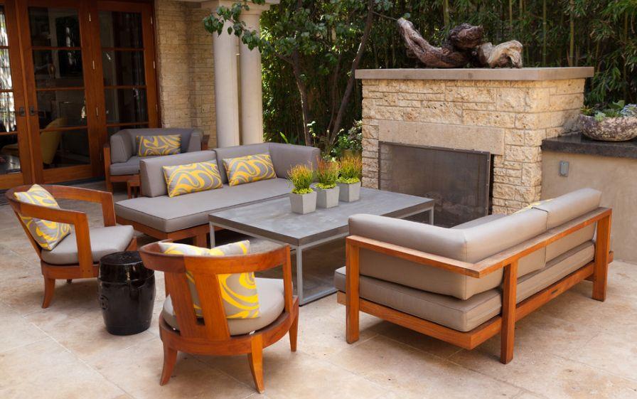outdoor fireplace teak furniture UIFZKJT