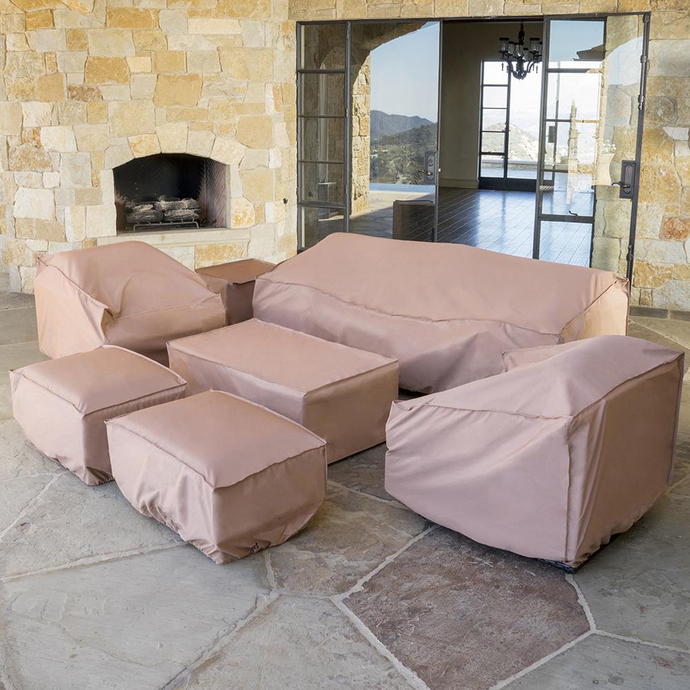 outdoor furniture covers portofino™ comfort 7pc furniture cover set HUSBRWU