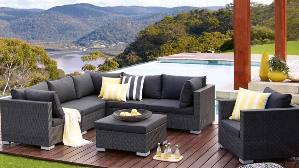 outdoor lounge buy newport outdoor 7-piece modular lounge setting   harvey norman au SEYQFZT