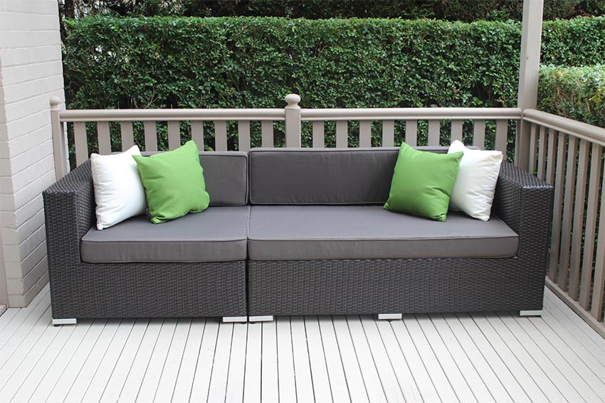 outdoor lounge outdoor wicker 3 seater lounge charcoal hazelnut with charcoal fabric DBXOARF