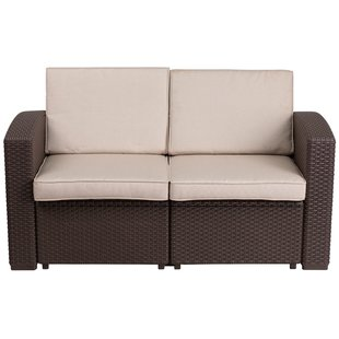 outdoor loveseat clifford faux rattan loveseat with cushion TCAMUSN