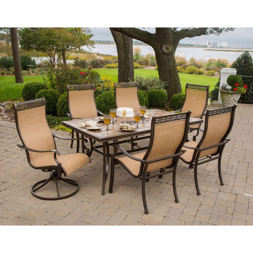 outdoor patio sets hanover monaco 7-piece outdoor patio dining set YFXMDRT