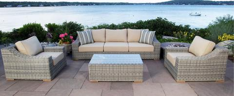 outdoor patio sets monterey 4 piece sectional outdoor patio set w/ 2 club chairs KNWHTOH
