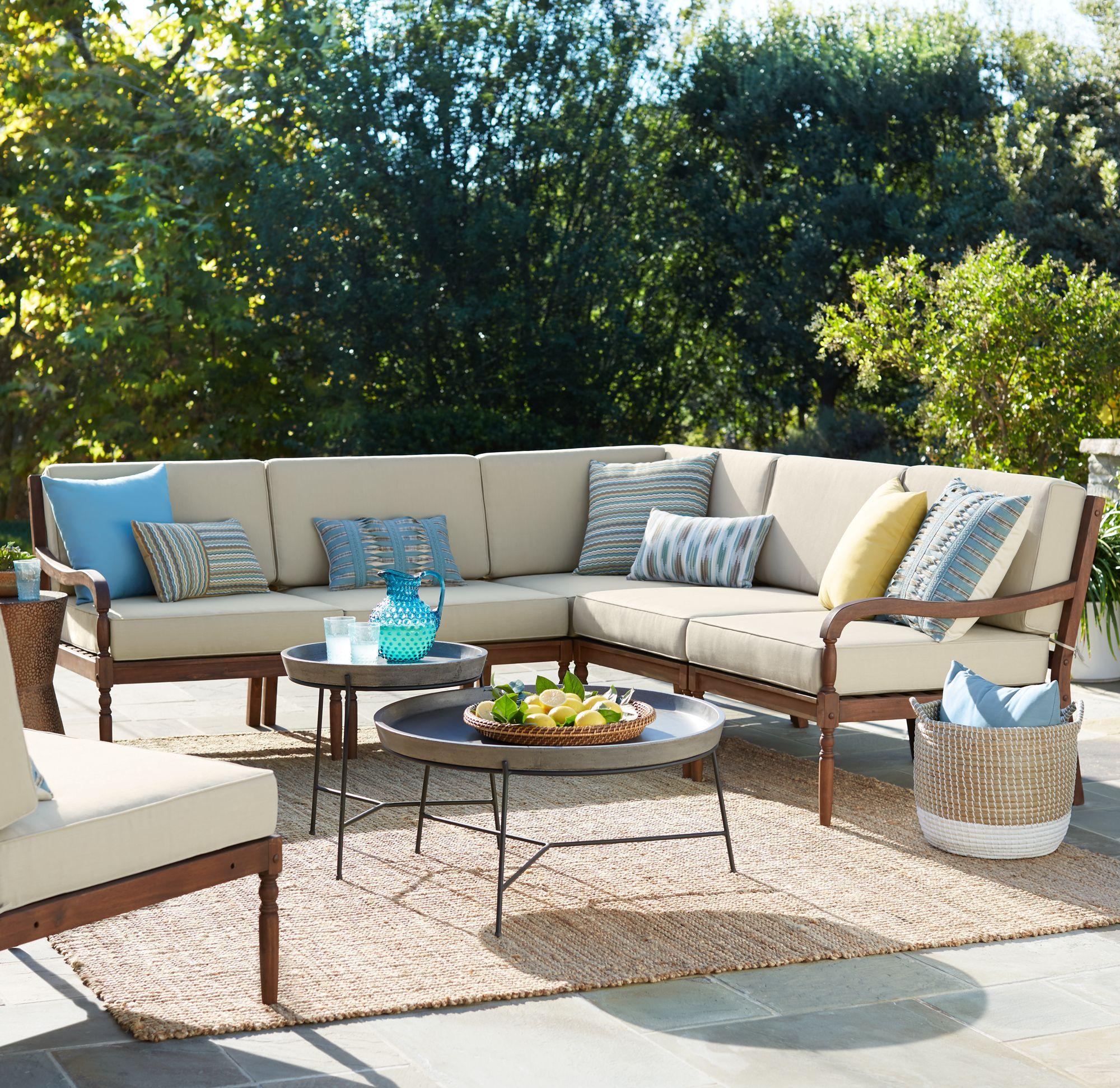 outdoor patio sets napa modular acacia wood 5-piece outdoor seating patio set DHUYRET