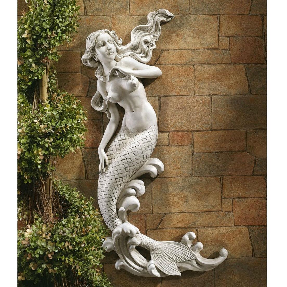 outdoor patio wall decor mermaid wall-mounted garden statue IPFGLMH
