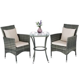 outdoor rattan furniture costway 3pcs patio rattan furniture set chairs u0026 table garden coffee HNJIRGM